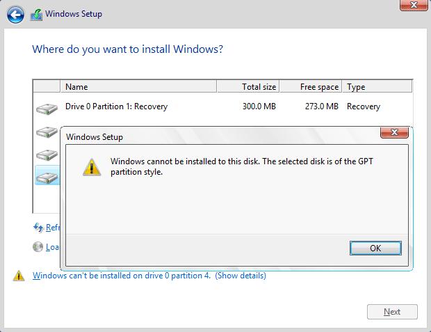 tidak bisa install windows partisi gpt