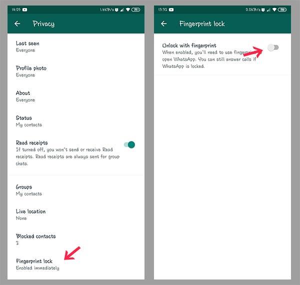 cara mengunci whatsapp dengan sidik jari 5